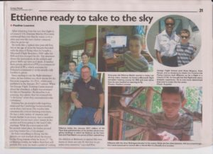 A newspaper article about Ettienne's articles and subsequent flight in a Cessna